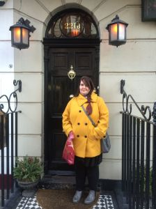 In front of Sherlock's door with my Harry Potter bag - does that scream NERD or what?